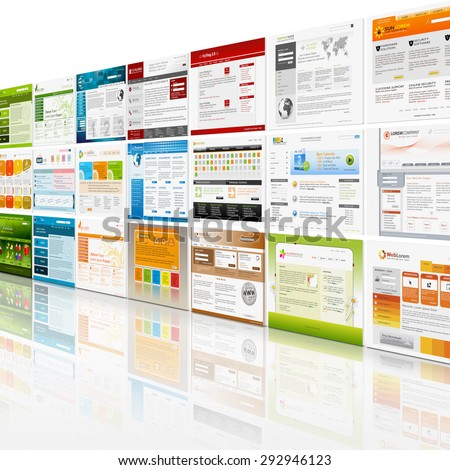 Perspective View of Website Template Wall with mirroring on the Floor - Web Design - stock photo