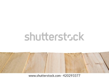 Perspective view of wooden terrace. Wooden floor textured pattern with empty wall backdrop. Vintage wooden planks for a montage, editing, processing of photographs. Isolated on white background. - stock photo