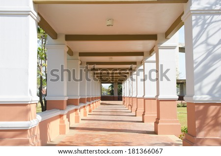 Perspective walk way  - stock photo