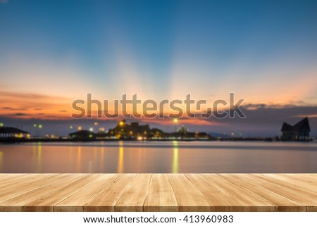 perspective wood plank background Stunning sunrise landscape display your products. - stock photo