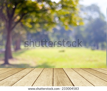 Perspective wood with blur landscape background - stock photo