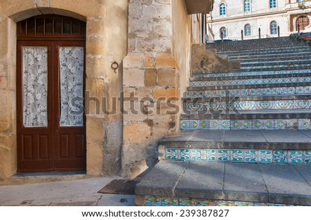 Perspectives of the famous Caltagirone staircase with its characteristic decorated steps - stock photo