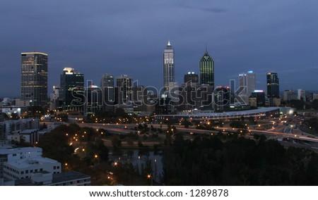 Perth city at dusk - stock photo