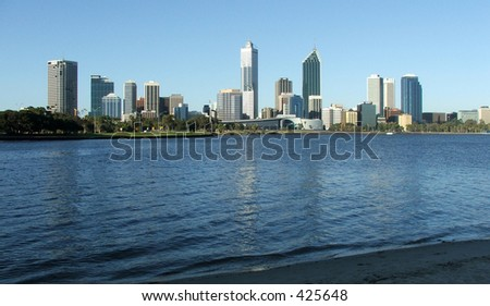 Perth City from across the Swan River - stock photo