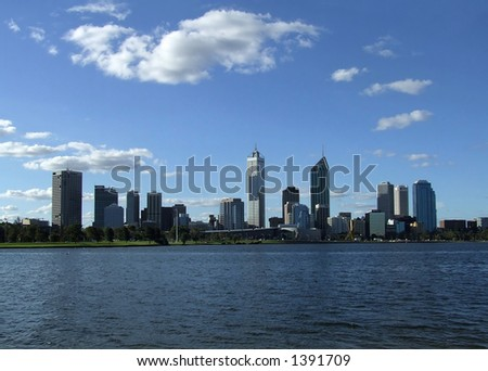 Perth City over the Swan River - stock photo