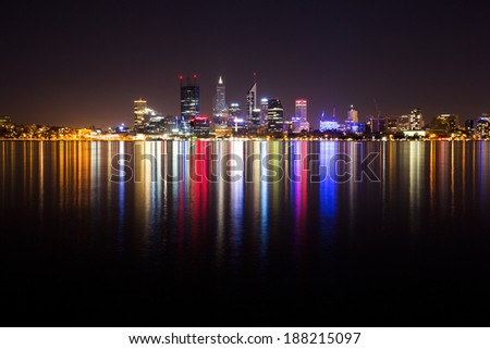 Perth city skyline at night - stock photo