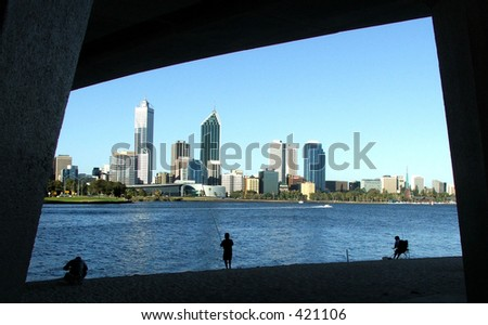 Perth city through the Narrows Bridge - stock photo