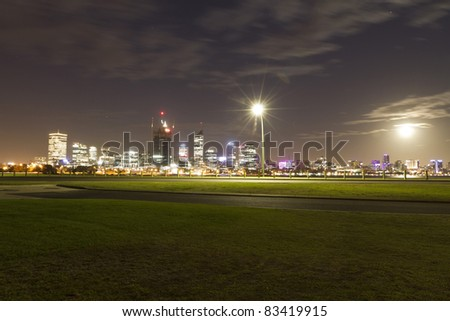 Perth Skyline from banks of Swan river - stock photo