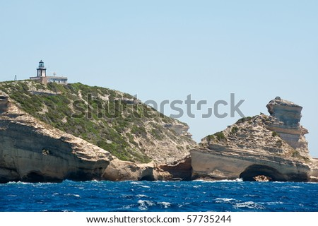 Pertusato lighthouse in Corsica, France - stock photo