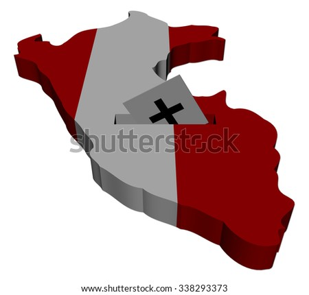 Peru election map with ballot paper illustration - stock photo
