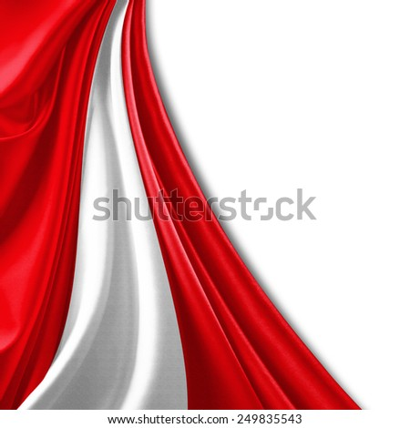 Peru flag and white background - stock photo