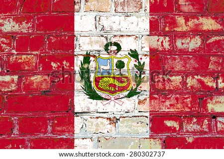 Peru flag painted on old brick wall texture background - stock photo