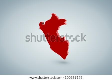 Peru Map - stock photo