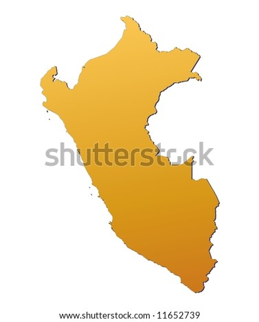 Peru map filled with orange gradient. Mercator projection. - stock photo