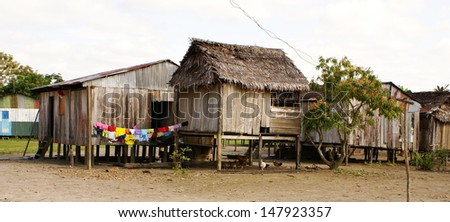 Peru, Peruvian Amazonas landscape. The photo present typical indian tribes settlement in Amazon - stock photo