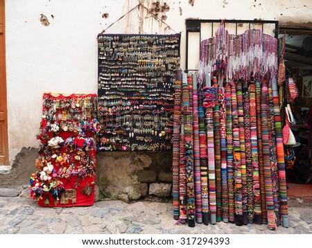 Peru Textile product in Pisac market - stock photo