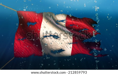 Peru Under Water Sea Flag National Torn Bubble 3D - stock photo