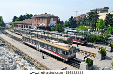 PERUGIA, ITALY- APRIL 22: Railway station on April 22, 2011 in Perugia, Italy. Perugia hosts Jazz, Chocolate and Journalism festivals attracting many tourists each year. - stock photo
