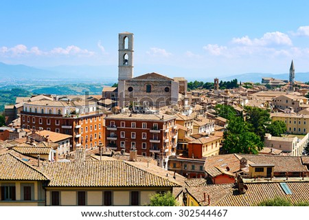 Perugia skyline in the sunshine day. Italy - stock photo