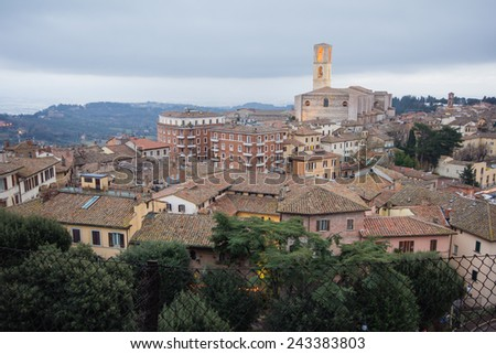 Perugia skyline seen from the panoramic terrace of the old town.  - stock photo