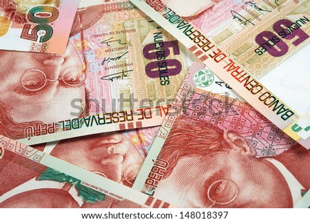 Peruvian bank notes, Nuevos Soles currency from Peru. - stock photo