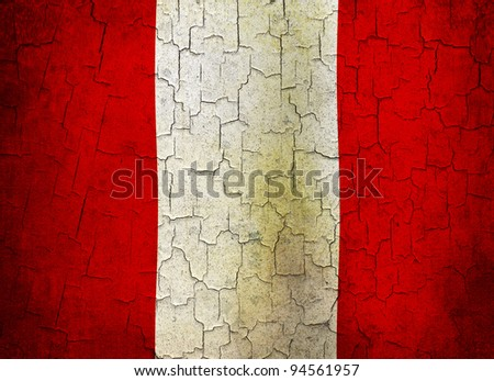 Peruvian flag on a cracked grunge background - stock photo