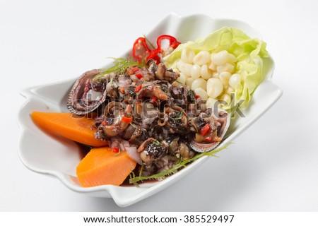 Peruvian food: conchas negras cebiche. - stock photo