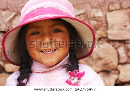 peruvian girl smiling - stock photo