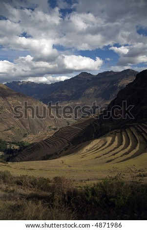 Peruvian Lanscape and Terracing and Hillside Farming - stock photo
