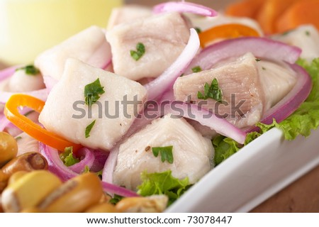 Peruvian-style ceviche made out of raw dogfish (Spanish: tollo), red onions and aji (Peruvian hot pepper) and served with roasted corn (cancha) and sweet potato (Selective Focus, Focus on the front)) - stock photo