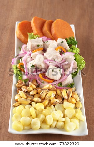 tollo), onions and aji (Peruvian hot pepper) with corn, roasted corn ...