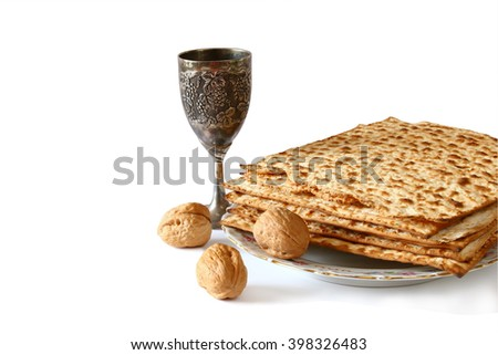 Pesah celebration concept (jewish Passover holiday). selective focus. isolated on white  - stock photo
