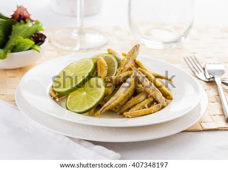 Pescaito frito. Typical Spanish fried fish dish. - stock photo