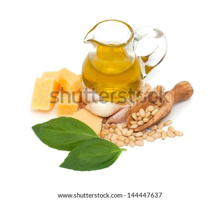pesto ingredients isolated on white background - stock photo