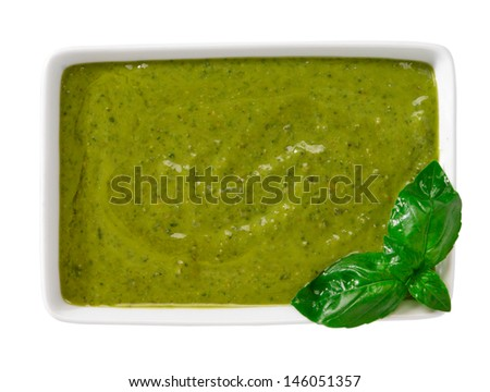 Pesto sauce on white background - stock photo