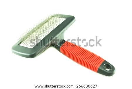 Pet brush on a white background - stock photo