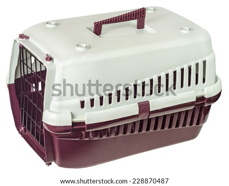 Pet carrier isolated on white background. File contains a clipping path. - stock photo