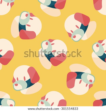 Pet dog mouth cover flat icon, seamless pattern background - stock photo