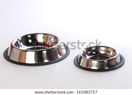 pet food bowl isolated on  white - stock photo