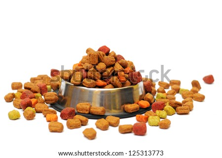 pet food in a silver bowl on a white background - stock photo