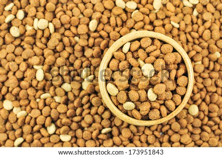 pet food in the dish with background of pet food  - stock photo