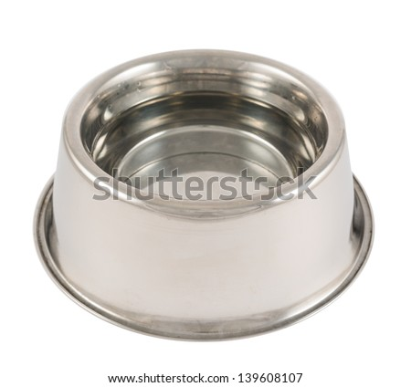 Pet's dog steel metal glossy bowl filled with water isolated over white background - stock photo