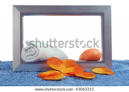 petal and  photoframe on the table in white background soap - stock photo