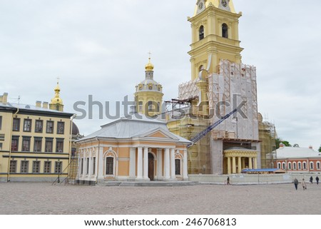 Peter and Paul Cathedral and Botnia house, St.Petersburg, Russia. - stock photo