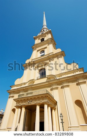 Peter and Paul cathedral, the oldest landmark in St Petersburg - stock photo