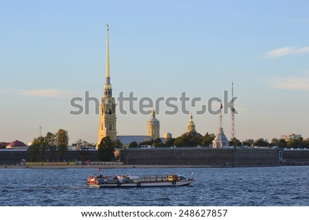 Peter and Paul Fortress at evening, St.Petersburg, Russia. - stock photo