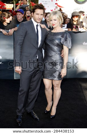 Peter Facinelli and Jennie Garth at the Los Angeles premiere of 'The Twilight Saga: Eclipse' held at the Nokia Theatre L.A. Live in Los Angeles on June 24, 2010. - stock photo