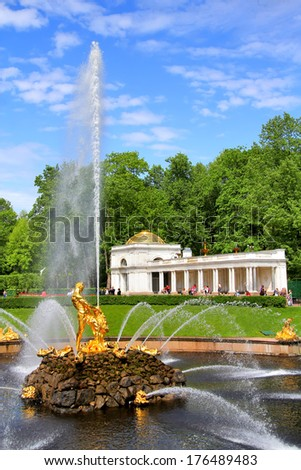 PETERGOF, RUSSIA - MAY 27, 2013: Samson Fountain of the Grand Cascade in Peterhof Palace, Saint Petersburg. - stock photo