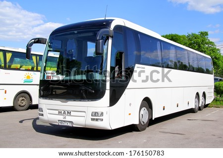 PETERGOF, RUSSIA - MAY 27, 2013: White MAN R08 Lion's Top Coach interurban bus at the bus station. - stock photo