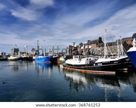 Peterhead, Scotland, 3rd of July 2014, Fishing vessels in harbor  - stock photo